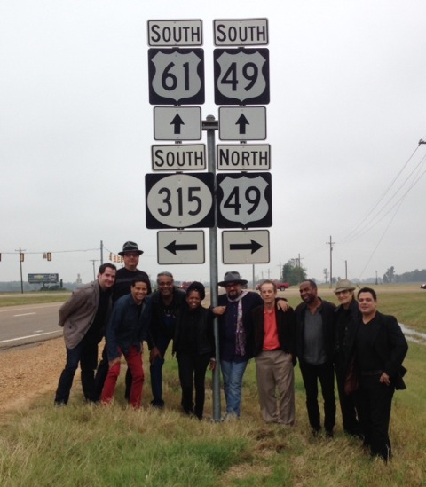 With Jimmy Vivino and the Black Italians at the Crossroads, at intersection of historical Highways 61 and 49 in Clarksdale, Mississippi.